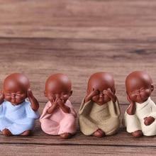 Small Buddha Decorative Figurine Statue Ceramic-Ornaments Monk Tathagata India Purple