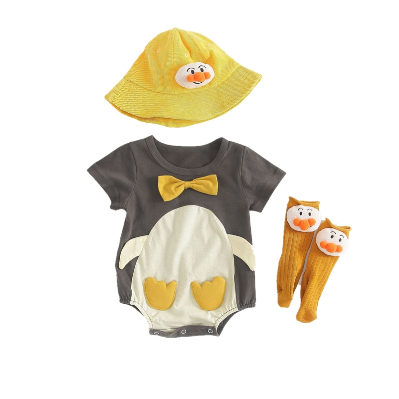 Lovely <font><b>Animal</b></font> Baby Clothes Infant Boy Girls Romper Hat <font><b>Sock</b></font> Set Grey Penguin Cotton Costume Roupa Bebe Bodies Short Onesies image
