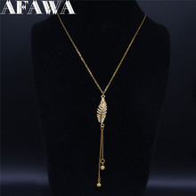 AFAWA Leaf Zircon Copper Stainless Steel Tassel Necklaces Women Gold Color Long Statement Necklace Jewelry gargantilla N20S01 2019 family stainless steel necklace women jewlery silver color dad mum and son statement necklace jewelry gargantilla n18018