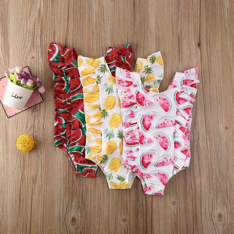 1-5 Years Children Swimsuits Infant Kids Baby Girls Swimming Suits Watermelon Pineapple Print One Piece Swimwear For Girl Boys