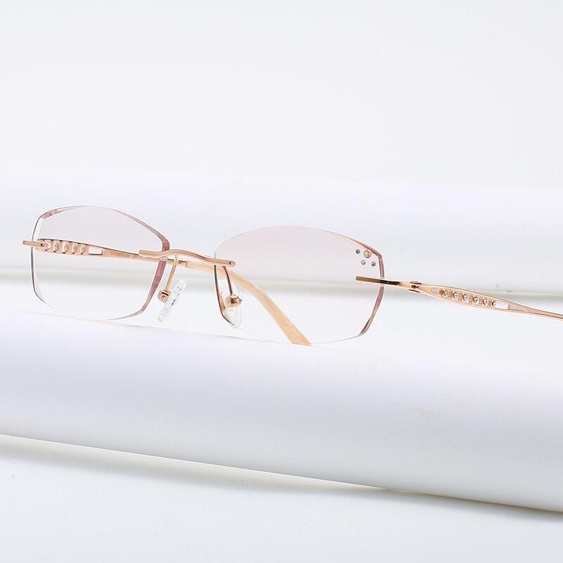 ZIROSAT 9136 Titanium Female Rimless Eyewear Diamond Trimmed Myopia Spectacle Frame Women Sunglasses Tint Lenses Women's Eyewear Frames  - AliExpress