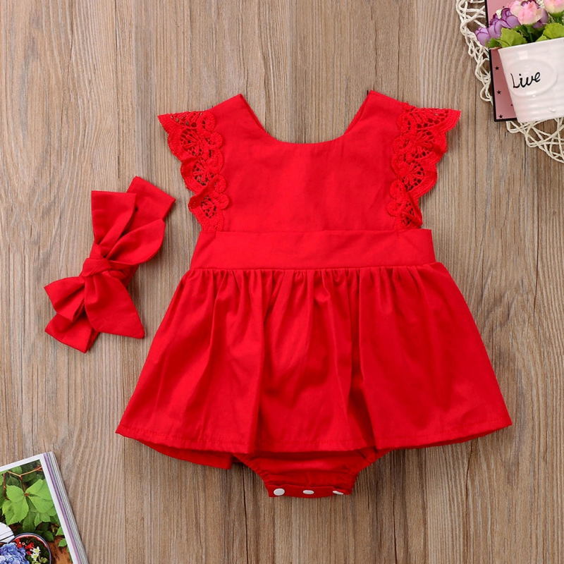 Summer Newborn Baby Girls Bodysuit Dress Sleeveless Cotton Lace Jumpsuit Bow Hair Band Red Clothes Set for Girl(China)