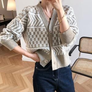 Image 4 - Women V neck Cardigan Sweater Coat 2019 Autumn Winter New Fashion Casual Comfortable Wild Patchwork Knit Cardigan Women Sweater