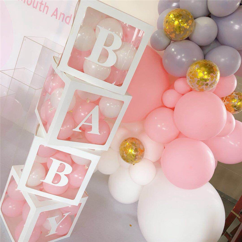 Transparent Balloons Box Name Age Box Baby Shower Decorations Baby 1st One Birthday Party Decor Gift Babyshower Supplies title=