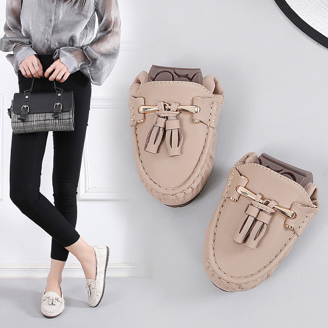 2020 Shoes Woman Soft Flats Slip On Solid Split Flat Loafers Women Summer Moccasin Fringe Ballet Flats Mother Nurse Casual Shoes