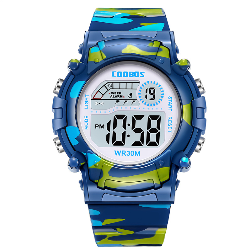 Coolboss Navy Blue Sports Clock Luminous Children's Wrist Watches Multifunction Digital Alarm Clock Kid Watch Student Hour A3362