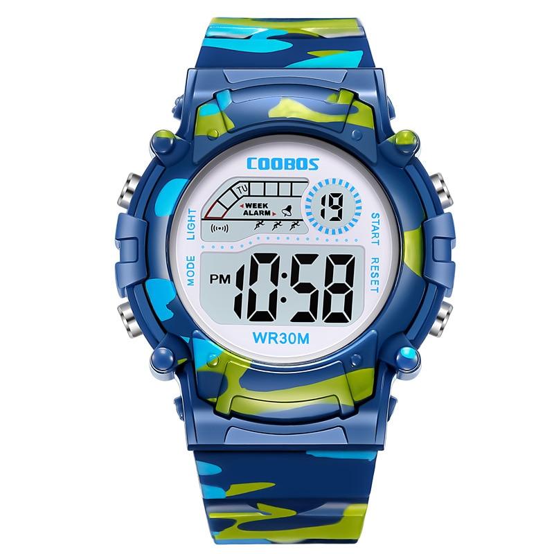 Coolboss Navy Blue Sports Clock Luminous Children's Wrist Watches Multifunction Digital Alarm Clock Kid Watch Student Hour A3362