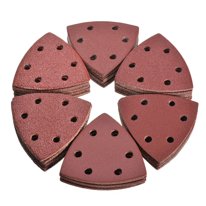 120Pcs 93mm Triangle Sandpaper 6 Holes Hole Disk Sand Sheets Grit 40~240 Hook And Loop Sanding Disc Adhesive Grinding Discs