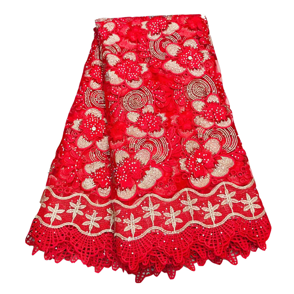 Red French Lace Fabric With Rhinestones 2019 High Quality African Lace Fabrics For Wedding Embroidery Tulle Voile Lace Fabric