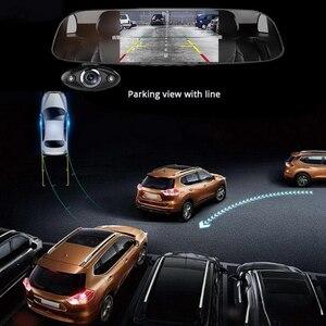 """Image 5 - Traço do carro câmera dupla 5 """"1080p fhd carro dvr toque espelho retrovisor câmera g sensor gravador de visão noturna lente dupla traço cam b33"""