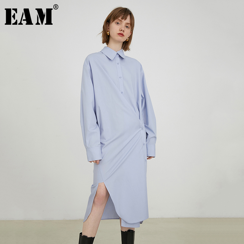 [EAM] Women Blue Button Asymmetrical Big Size Shirt Dress New Lapel Long Sleeve Loose Fit Fashion Tide Spring Autumn 2020 1S085