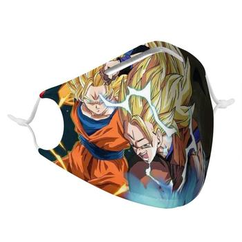 цена на PM2.5 Dragon Ball Cartoon Women's and Men's Respirator with 4 Filters, Fashionable Washable, Reusable Mask, Non-Disposable Virus