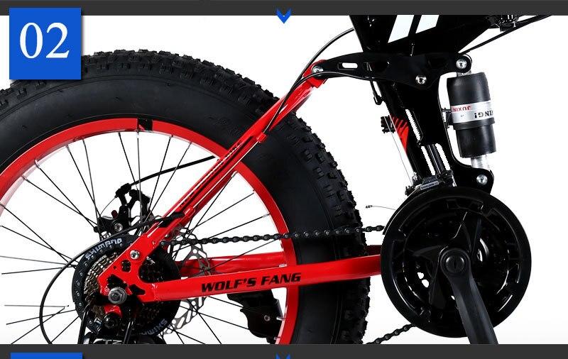 """He566002f83684d138b32300ed7741d1fT wolf's fang Mountain Bike 20""""x 4.0 Folding Bicycle 21 speed road bike fat bike variable speed bike Mechanical Disc Brake"""