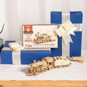 Image 4 - Robotime Rokr DIY Laser Cutting Movable Steam Train Wooden Model Building Kits Assembly Toy Gift for Children Adult MC501