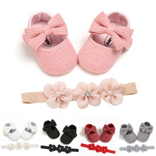 2pcs Set Baby Shoes First Steps With Hairdress Kids Clothing Newborn Infant Girls Princess Moccasions Bowknot Walking Shoes 2021