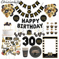 Chicinlife 30 40 50 60 лет баннер фольгированный шар одноразовая посуда фото стенд реквизит рамка для взрослых на день рождения