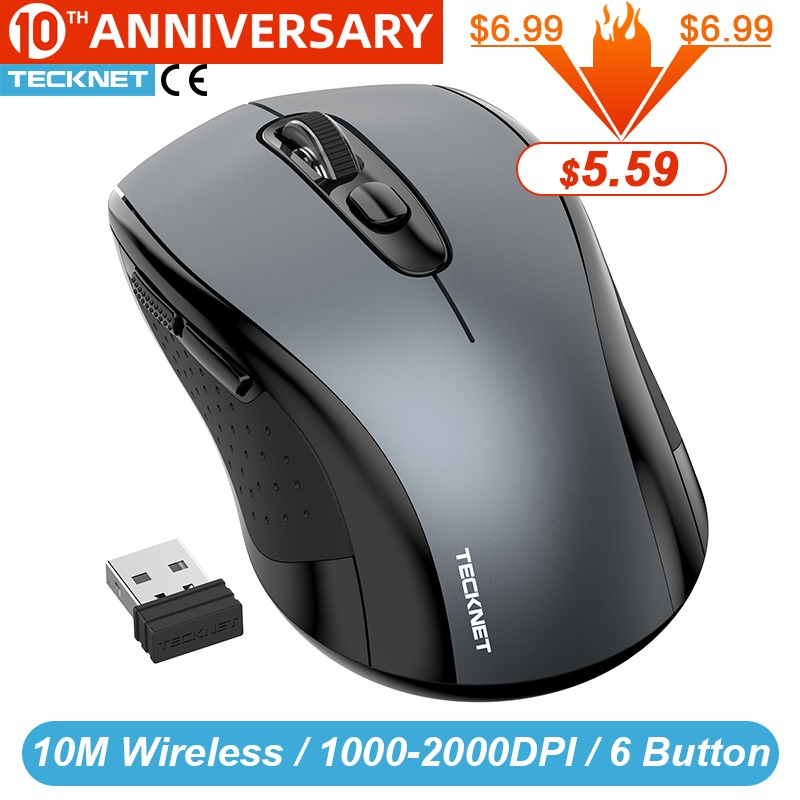 TeckNet 2.0 USB Wireless Mouse Computer With 2.4G Wireless Receiver MICE 2000DPI 10M SUPER Mouse For Computer Wireless PC Laptop