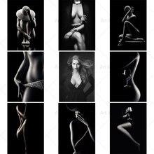 Preto sexy nude mulher figura pintura em tela na parede posters impressões cuadros quadros da arte da parede para sala de estar decoração