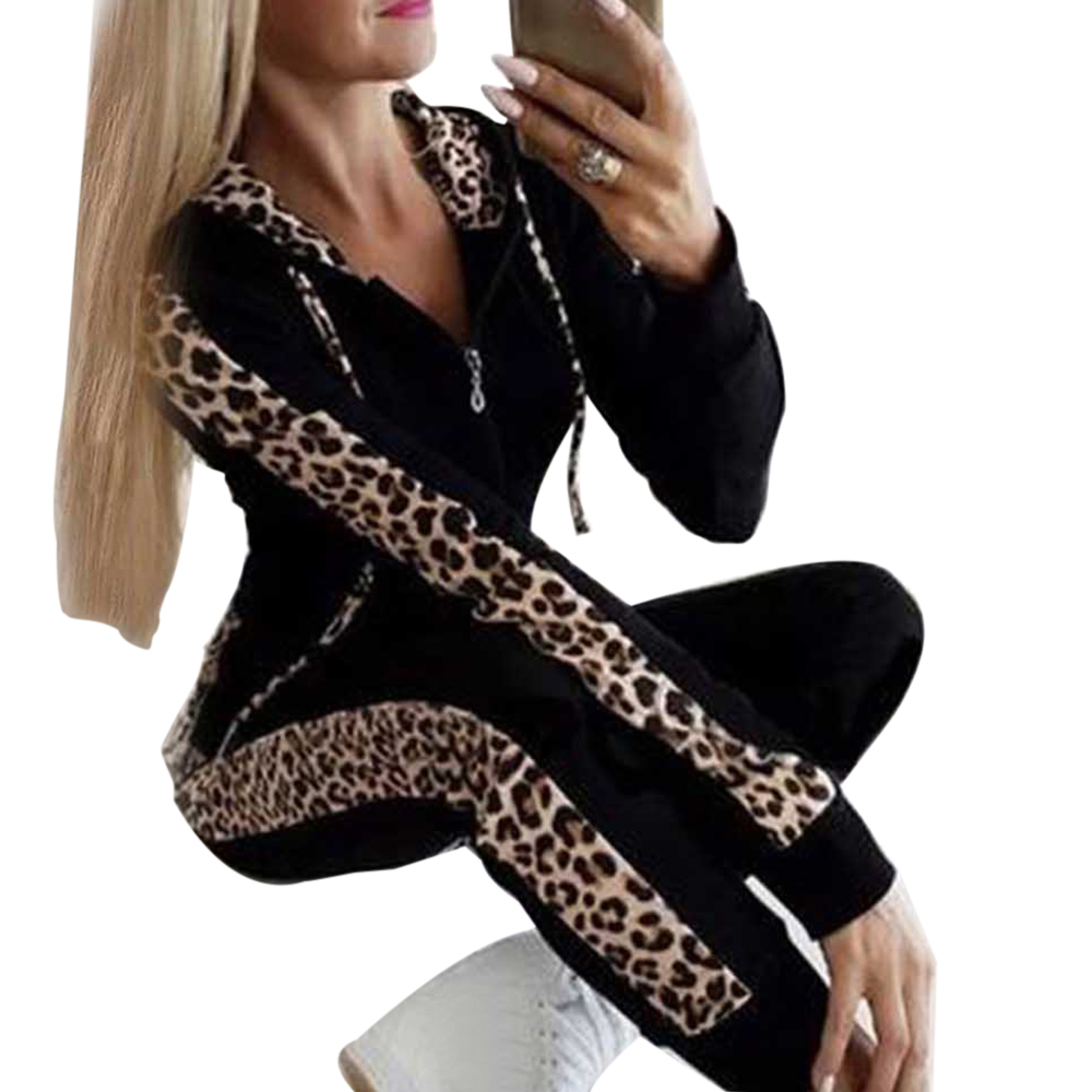 Sfit Autumn Winter Fashion Tracksuit Women Splice Fleece Leopard Print Coat With Hood Two Pieces Set Hoodies Long Pant Suit