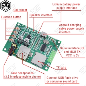 BT201 Dual Mode 5.0 Bluetooth Lossless Audio Power Amplifier Board Module Tf Card U Disk Ble Spp Serial Port Transparent Trans(China)