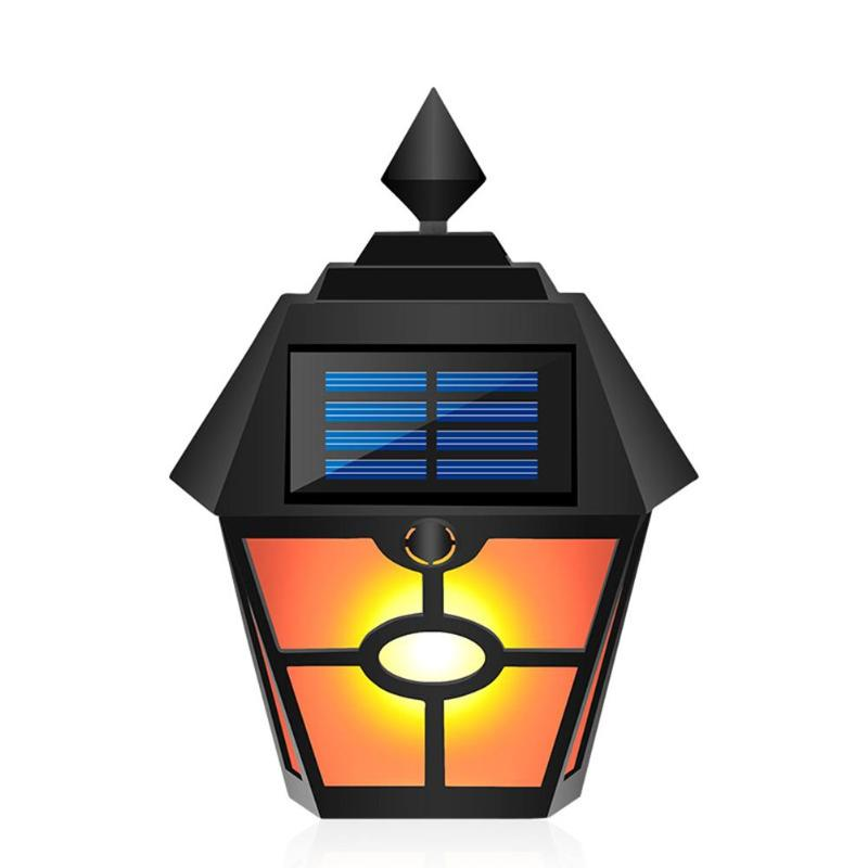 Retro Hex Solar Flame Lamp LED Light Control Plastic Waterproof Pane Courtyard Fence Garden Landscape Outdoor Wall Light