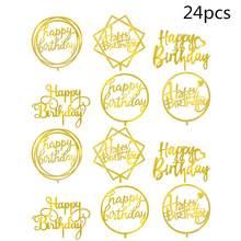24 pçs bolo de aniversário topper acrílico duplo-face espelho cartão de inserção do bolo de aniversário cozimento decoração feliz aniversário bolo cartão
