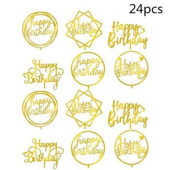 24 szt Tort urodzinowy Topper akrylowe podwójne lustro boczne tort urodzinowy wstaw kartę ozdoba do pieczenia z okazji urodzin ciasto karty tanie i dobre opinie CN (pochodzenie) cake toppers przyjęcie urodzinowe Na imprezę