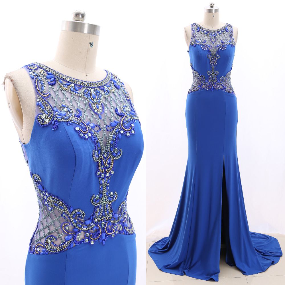MACloth Blue Sweep Train O Neck Floor-Length Long Crystal Jersey   Prom     Dresses     Dress   M 266591 Clearance