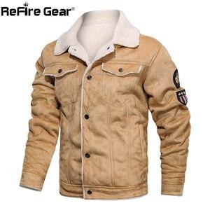 Image 4 - Refire engrenagem inverno quente do exército tático jaquetas homens piloto bombardeiro vôo militar jaqueta casual grosso lã de algodão forro casaco