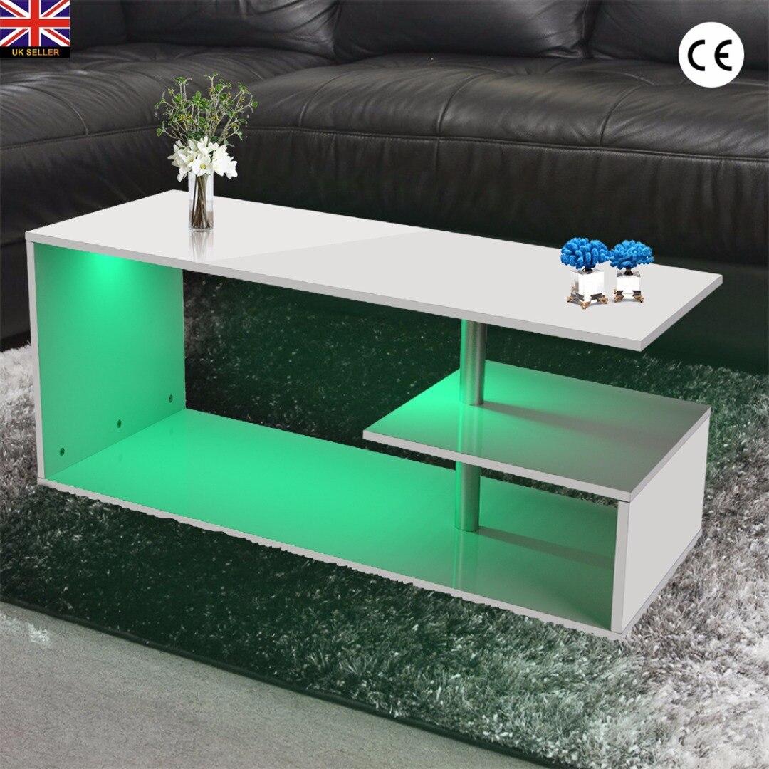 Table à thé Table d'appoint pour bureau Table basse Magazine étagère avec LED moderne blanc salon TV Tables 100*50*46cm