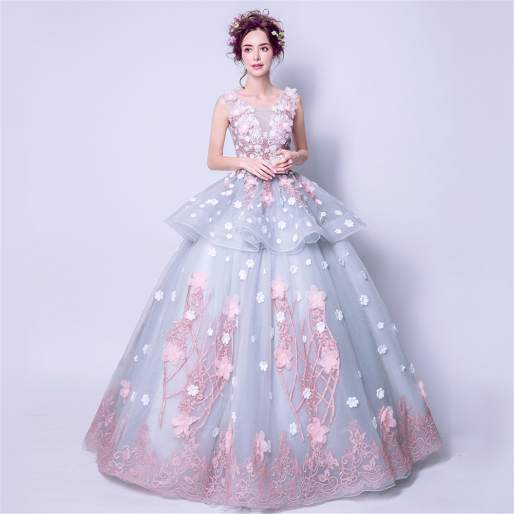 Sleeveles Floor-length Ball Gown Empire Organza Sexy Women Illusion   Prom     Dresses   Bow Applique Flower Abiti Da Cerimonia Da Sera