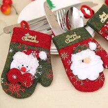 Vrolijk Kerstfeest Decoratie Nieuwe Jaar Pocket Vork Mes Bestek Houder Kerstman Vork Mes Handschoenen Tas Voor Tafel Party Servies