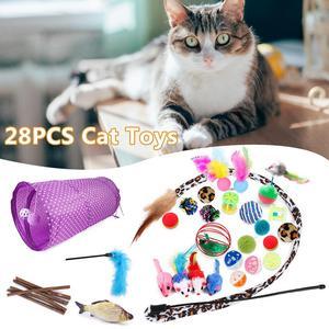28 шт., игрушка для домашних животных, складная, 2 отверстия, игрушка для кошек, туннель, рыба, мышь, перо, палочка, забавные игрушки для жевания,...