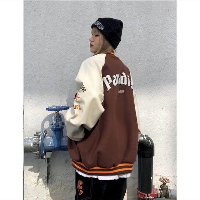 2021SS Bomber Woman Jacket Hip Hop Furry Bone Patchwork Color Block Jackets Mens Harajuku Streetwear Men Baseball Coats Unisex 2
