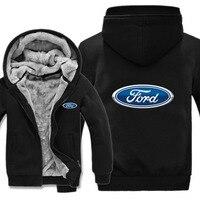 Winter Ford Hoodies Warm Men Fashion Wool Liner Jacket Ford Logo Sweatshirts Men Coat