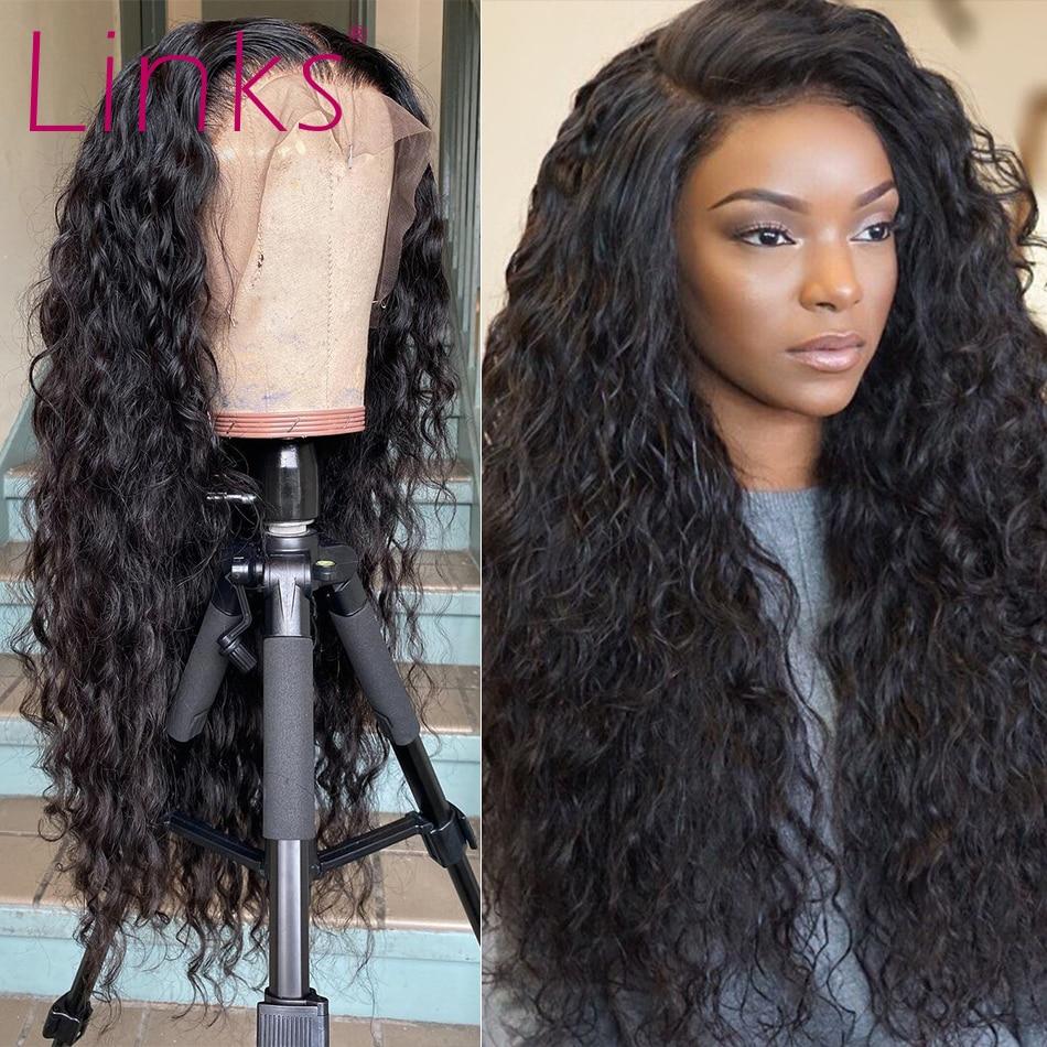 Ссылки 28 30 40 дюймов глубокая волна фронта шнурка человеческих волос парики для чернокожих женщин предварительно вырезанные бразильские Gluess воды вьющиеся Ф