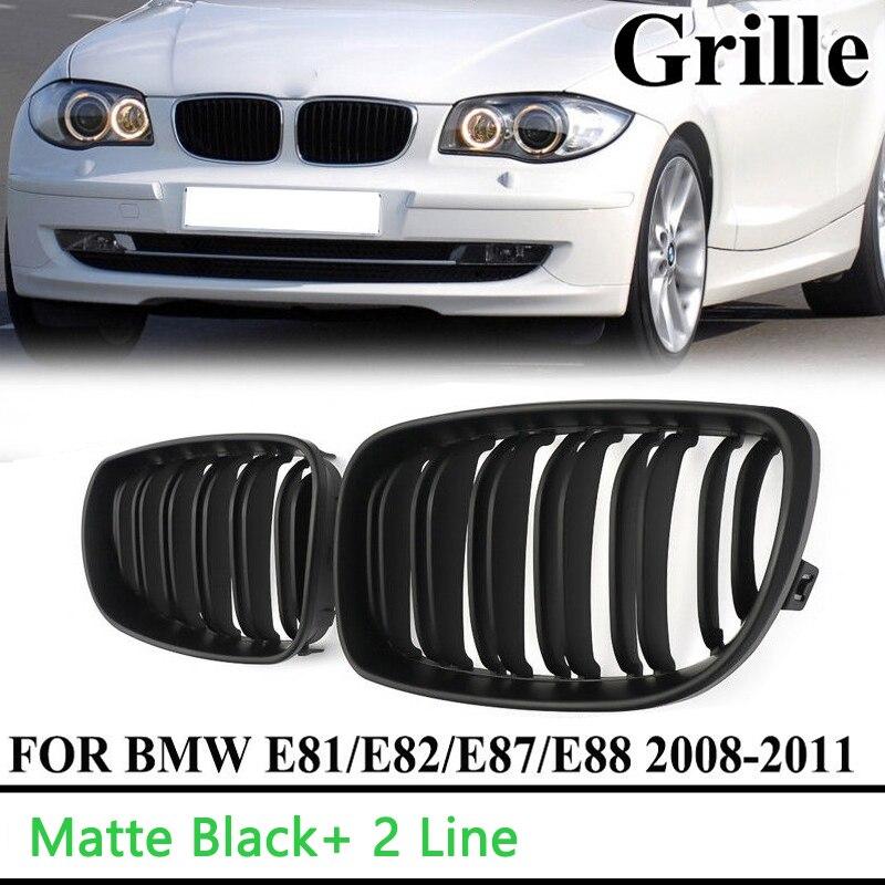 Otomobiller ve Motosikletler'ten Ön ve Radyatör Izgaraları'de Araba styling araba araba böbrek izgara ön tampon Grille mat siyah menfezler yedek çevre kapakları E87 2008 2011 title=