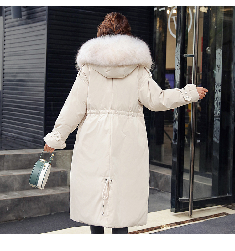 2019 Fashion Versatile Jacket  Natural Fur Collar Thick Black Hood Keep Warm Large Size Winter New Women's Down Jacket