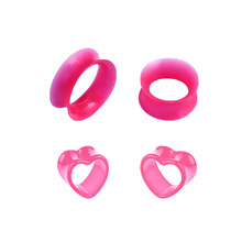 Silicone Ear Plugs Earrings Accessories Plugs Tunnel Hollow PINK Heart Acrylic Gauge Earlet Expander Stretcher Piercing Jewlery(China)