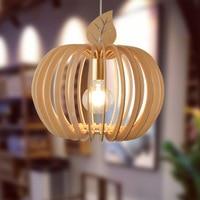 Wood Apple Shape Pendant Light Dinning Room Lamp Tatami Bar Restaurant Bedroom Study Room Coffee Shop Wooden Lamp