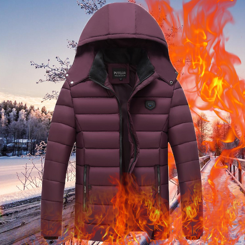Mens Down Cotton Clothing Thickened Leisure Warm Winter Jacket Parkas Hooded Coat Suit