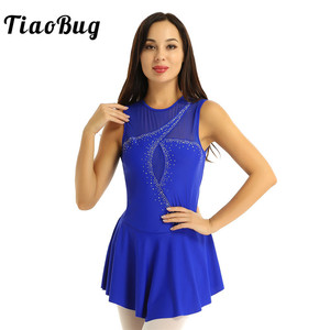 Image 1 - TiaoBug Adult Performance Dance Costume Sleeveless Mesh Splice Rhinestones Figure Skating Dress Women Ballet Gymnastics Leotard