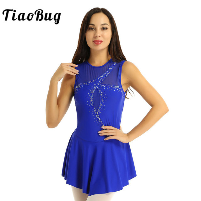TiaoBug Adult Performance Dance Costume Sleeveless Mesh Splice Rhinestones Figure Skating Dress Women Ballet Gymnastics Leotard