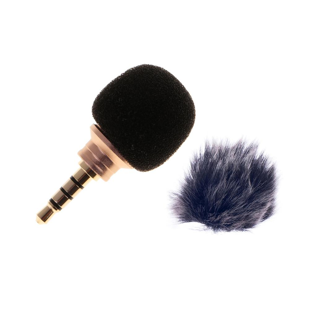 3.5mm Microphone For Mobile Cell Phone+Black Fur Microphone Windscreen Wind Muff