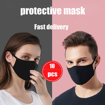 10 Pcs Face Mouth Mask Disposable Black Mouthmask For Unisex Anti-dust Mouth Facemask Wholesale Breath Straps Washable Reusable