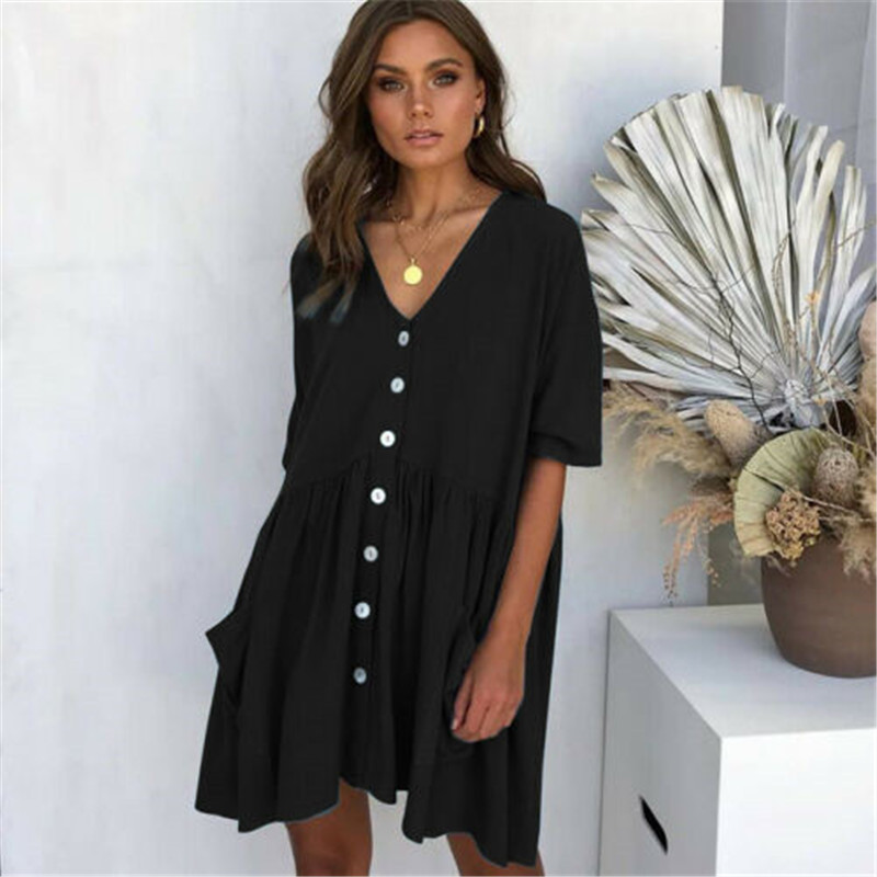 NEW Women Casual Loose Linen Dress Patchwork Half Sleeve Solid Button Splice Pocket Dress Fashion Summer Clothes Femme Sundress