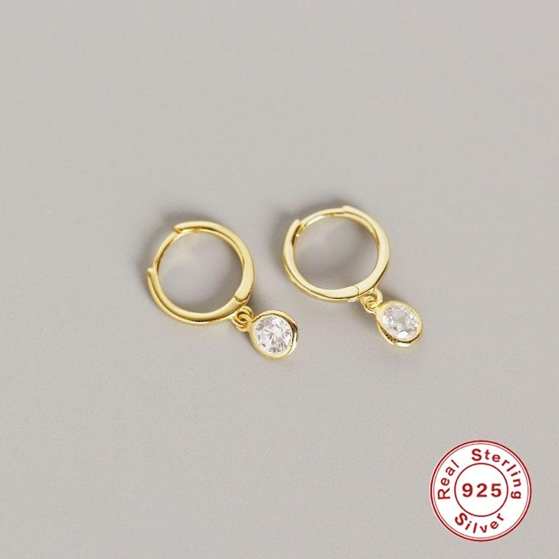 Real 925 Silver Earrings For Women Wedding Gold Small Round Earrings Girl Gift Crystal Piercing Earring Female Zircon aretes R5