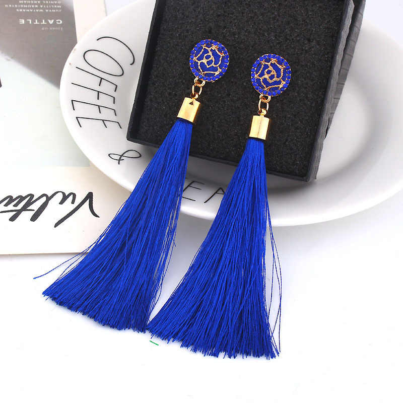 Blue Crystal Flower Fringe Earings Earing Geometric Long Dangle Tassel Earrings For Women 2019 Fashion Jewelry Oorbellen Gift