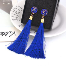 Blue Crystal Flower Fringe Earings Earing Geometric Long Dangle Tassel Earrings For Women 2019 Fashion Jewelry Oorbellen Gift(China)