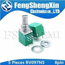 5 pces rv097ns 8pin b 10k 50k 100k rv097 rk097ns único potenciômetro ligado com interruptor de áudio eixo 15mm amplificador potência vedação